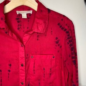 MICHAEL KORS | Red Navy Tie-Dye Button Up Blouse